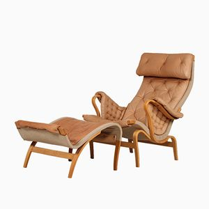 Mid-Century Pernilla Cognac Leather Easy Chair with Stool by Bruno Mathsson for Dux