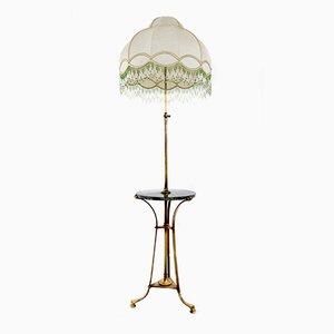 Bronze Telescopic Floor Lamp with Portoro Marble Tabletop, 1920s