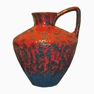 Vintage 401-40 Floor Vase with a Black & Red Volcanic Glaze by Heinz Martin for Jopeko Keramic