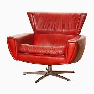 Red Leather Swivel Lounge Chair by Georg Thams for Lystager Industri, 1970s