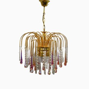 Vintage Brass Teardrop Chandelier, 1960s