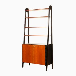 Teak and Skai Bookcase Secretaire by Bertil Fridhagen for Bodafors, 1950s