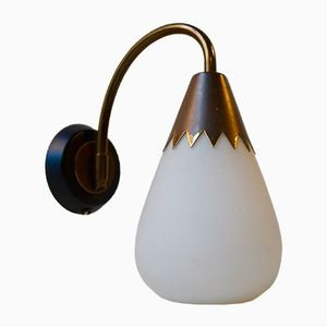 Tulip Shaped Modernist Sconce in Brass & Opaline Glass, 1950s