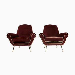 Italian Velvet Lounge Chairs, 1950s, Set of 2