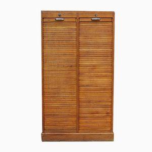 Vintage Oak Double Tambour Front Cabinet