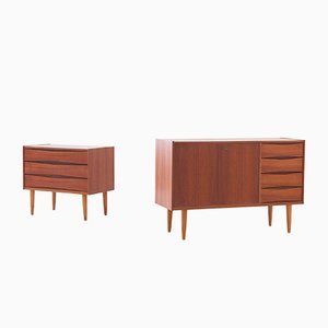 Danish Teak Sideboard & Chest of Drawers, 1950s, Set of 2