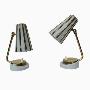 Italian Brass Bedside Lamps in Light Blue, 1950s, Set of 2