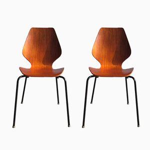 Vintage Esszimmerstühle aus Teak Furnier und Schichtholz, 2er Set