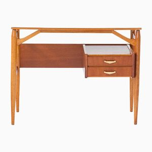 Italian Teak & Brass Desk, 1950s