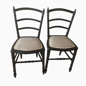 Vintage Black Wood and Linen Chairs, Set of 2