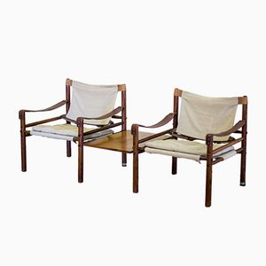 Safari Sirocco Chairs in Rosewood with Detachable Table by Arne Norell for Aneby, 1960s