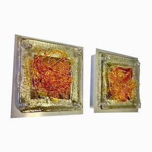 Murano Wall Lights by Tony Zuccheri for Venini, Set of 2