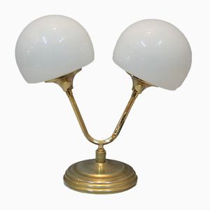 Vintage Table Lamp in Gold and Opaline Metal