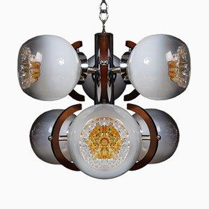 Vintage Murano Glas Hängelampe mit 6 Leuchten von Mazzega