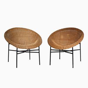 Rattan Hoop Stühle, 1960er, 2er Set