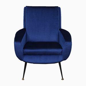 Französischer Blauer Sessel aus Samt, 1950er