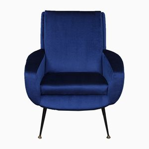 French Blue Velvet Lounge Chair, 1950s