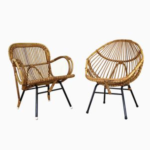 Dutch Rattan Tub Chairs from Rohé Noordwolde, 1960s, Set of 2