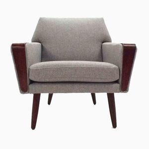 Dänischer Sessel aus Hellgrauer Wolle und Teak, 1960er