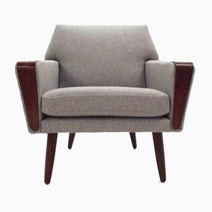 Danish Light Grey Wool & Teak Armchair, 1960s