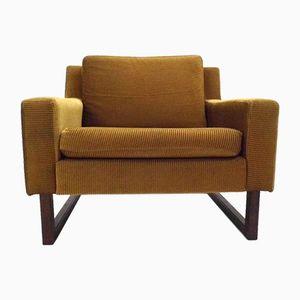 Norwegischer Sessel aus Goldenem Cord und Teak, 1970er