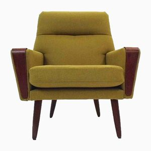 Danish Wool & Teak Armchair, 1960s