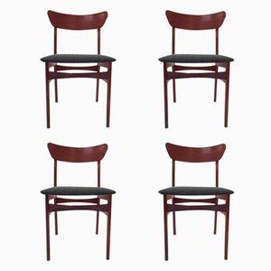Dänische Esszimmerstühle aus Teak und Dunkelgrauem Stoff, 1960er, 4er Set