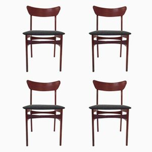Danish Teak & Charcoal Grey Fabric Dining Chairs, 1960s, Set of 4