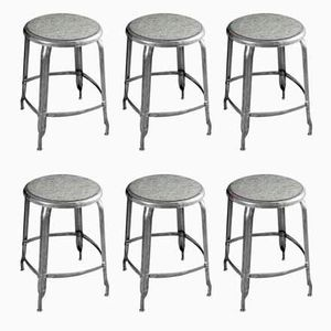 Vintage Industrial Stools by Chaises Nicolle, Set of 6