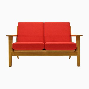 Vintage Oak & Wool 2-Seater Sofa by Hans J. Wegner for Getama