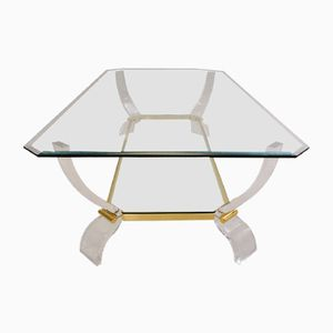 Table en Lucite et Dorure, 1980s