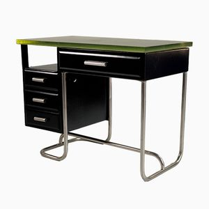 Tubular Desk in Black Lacquered Metal and Glass, 1930s