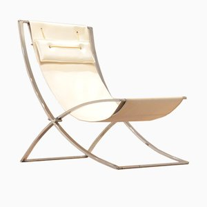 Italian Chrome & Skai Luisa Lounge Chair by Marcello Cuneo, 1970s