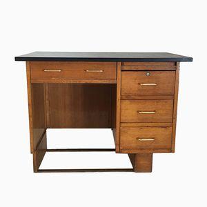 Vintage French Desk in Light Oak, 1960s