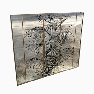 Wall Mirror with Serigraph Palm Trees, 1970s
