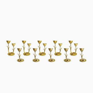 Vintage Scandinavian Brass Candlesticks by Gunnar Ander for Ystad Metall Sweden, Set of 10