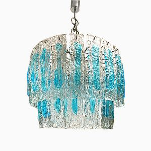 Blue Murano Two-Tiered Chandelier from Mazzega, 1970s