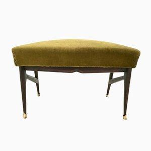 Olive Green Velvet Pouf, 1950s