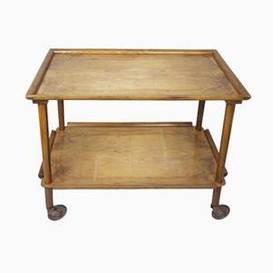 Table d'Appoint Mid-Century en Bois à Roulettes