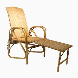 Poltrona regolabile in vimini e bambù, anni '40
