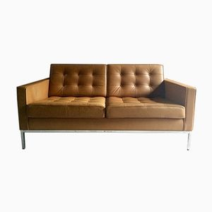 Vintage 2-Seater Leather Sofa by Florence Knoll for Knoll