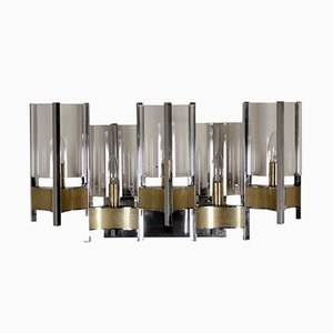 Brass & Glass Wall Lamp by Gaetano Sciolari, 1960s