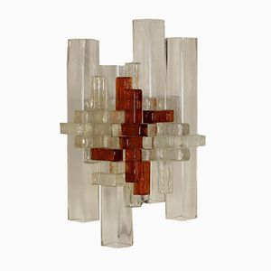 Blown Glass Wall Lamp from Poliarte, 1970s