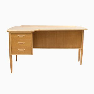 Swedish Oak Boomerang Desk by Goran Strand for Lelangs, 1960s