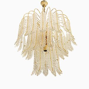 Glass 54 Leaf Chandelier with Golden Frame, 1970s