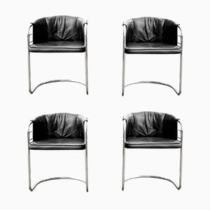 Vintage Chrome and Black Leather Armchairs, Set of 4