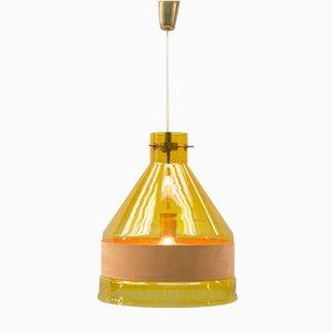 Gelbe Vintage Hängeleuchte aus Glas mit Ledergurt von Kalmar