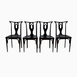 Wiener Secession Stühle von Josef Hoffmann für J&J Kohn, 1915, 4er Set