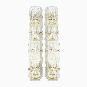 Röhrenförmige Wandleuchten aus Kristallglas von Kinkeldey, 1960er, 2er Set