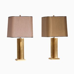 Brass Table Lamps by Maison Jansen, 1970s, Set of 2